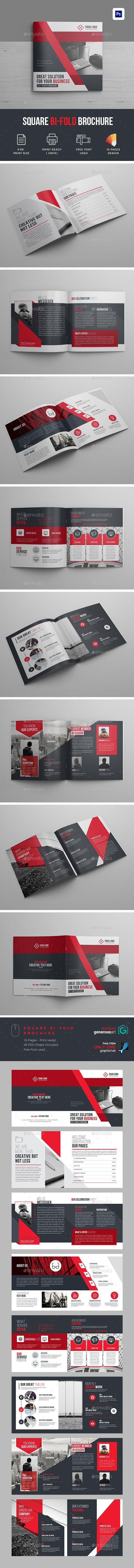 Creative Square Bi-Fold Brochure Template - #Brochures Print #Templates Download here: https://graphicriver.net/item/creative-square-bifold-brochure-template/19458302?ref=alena994