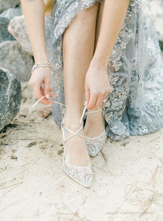 3525baa09656 Low Heel Comfortable crystal embellished and beaded wedding shoes ...