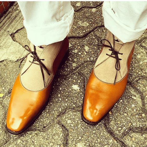 Handmade Mens fashion two toned Chukka boots, Men tan and Beige Chukka boots - Dress/Formal