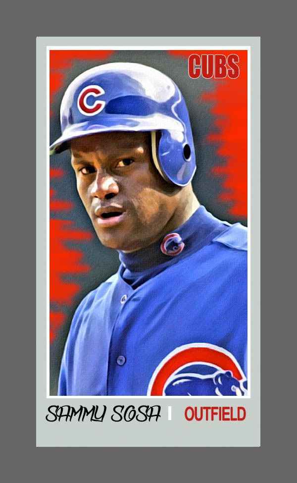 sammy sosa 1/3 mini art giclee print card retro 1986 style by t-tek chicago cubs from $9.99