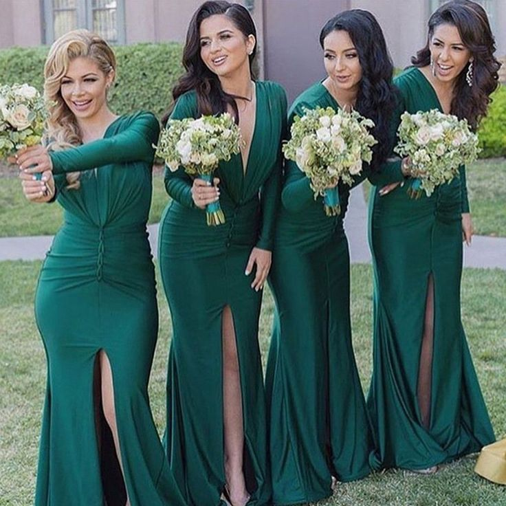 Unique Long Sleeves Sexy V Neck Mermaid Teal Green Cheap Long Bridesmaid Dresses…