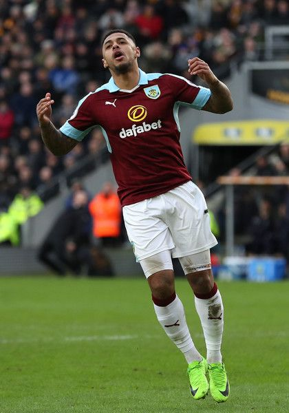 Andre Gray of Burnley reacts during the Premier League match between Hull City and Burnley at KCOM Stadium on February 25, 2017 in Hull, England.