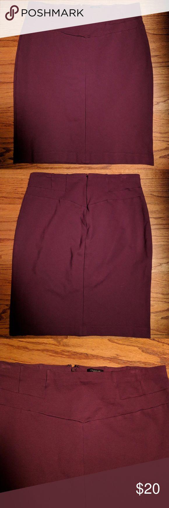 Ann Taylor Purple pencil Skirt Stretchy purple or dark mauve skirt. Zipper on back. Elastic waist. Details around waist. Ann Taylor Skirts Pencil