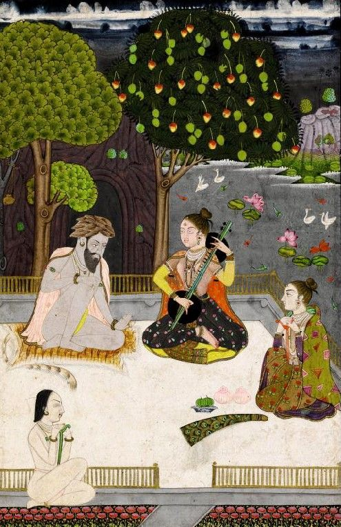 """Kedara Ragini daughter of Sri Raga.  """"Ragamala paintings were considerably sought after in the Muslim courts of South India, especially because their subject matter was secular as opposed to purely Hindu religious myths."""" ~Sotheby's. Opaque watercolor heightened with gold on paper.  circa 1780. India, Deccan, possibly Hyderabad."""