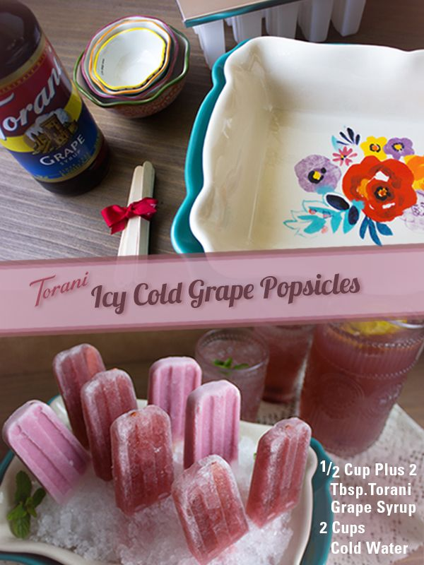 When summer rolls around, there's nothing like homemade popsicles to cool you down. We've made some refreshing grape ones using only Torani Grape Syrup + Water.