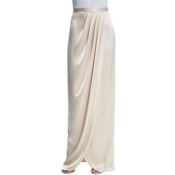 St. John Collection Liquid Satin Faux-Wrap Gown Skirt (506.385 CLP) ❤ liked on Polyvore featuring skirts, champange, pleated skirt, satin pleated skirt, long pink skirt, faux wrap skirt and satin skirt