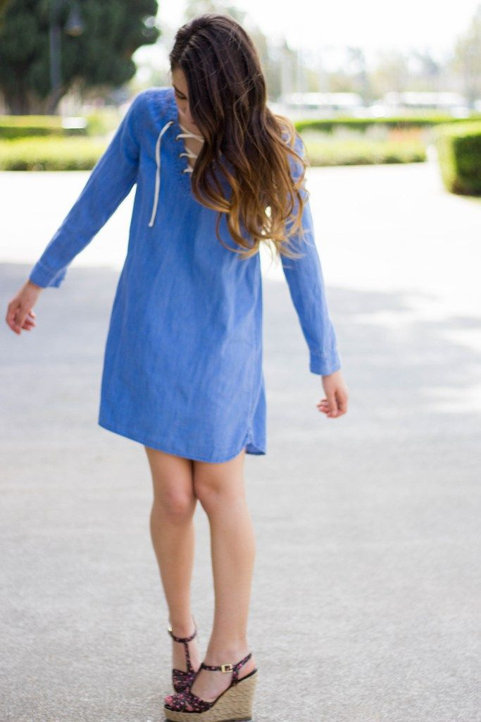 Denim Lace Up Dress Nautical Dress with Floral Wood Wedges Summer Dress outfit inspiration Spring outfit long hair loose curls moos musing