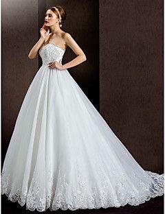 Vestido de Noiva Trapézio Sem Alças Cauda Corte (Renda/Organza/Cetim)