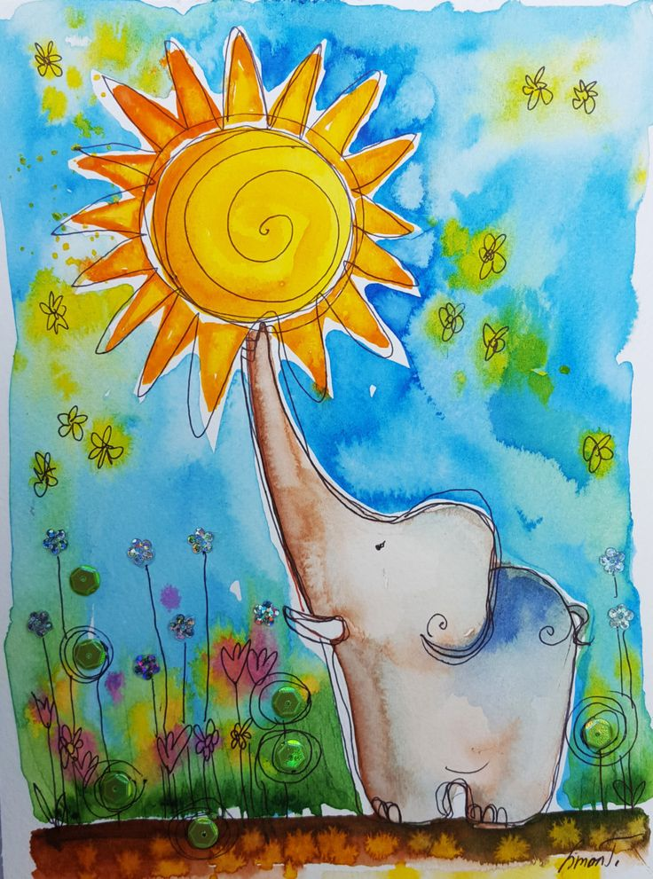 Elephant play with sunshine by silaloba on Etsy
