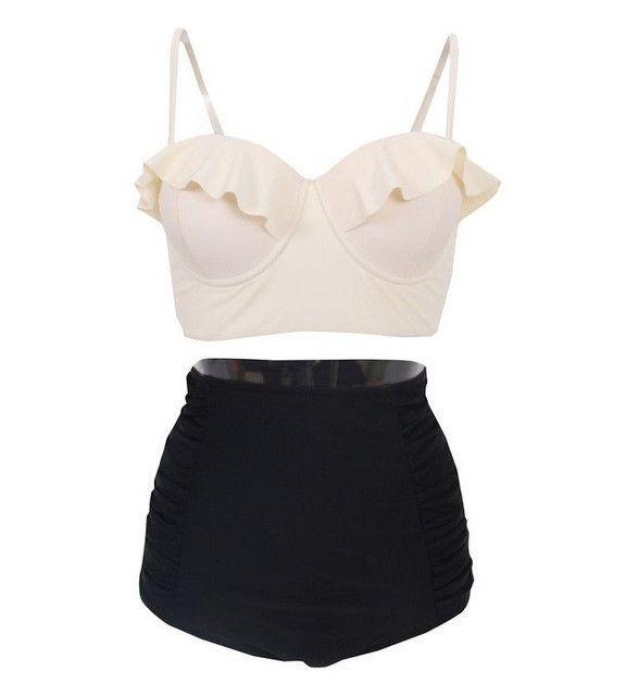 P&j High Waist Swimwear Women Plus Size Vintage Two Piece Swimsuit Tankini Striped Tankini With Shorts Sport Bathing Suits Beach