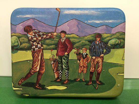 Golf Tin Box Small Hinged Tin Box for Golfers