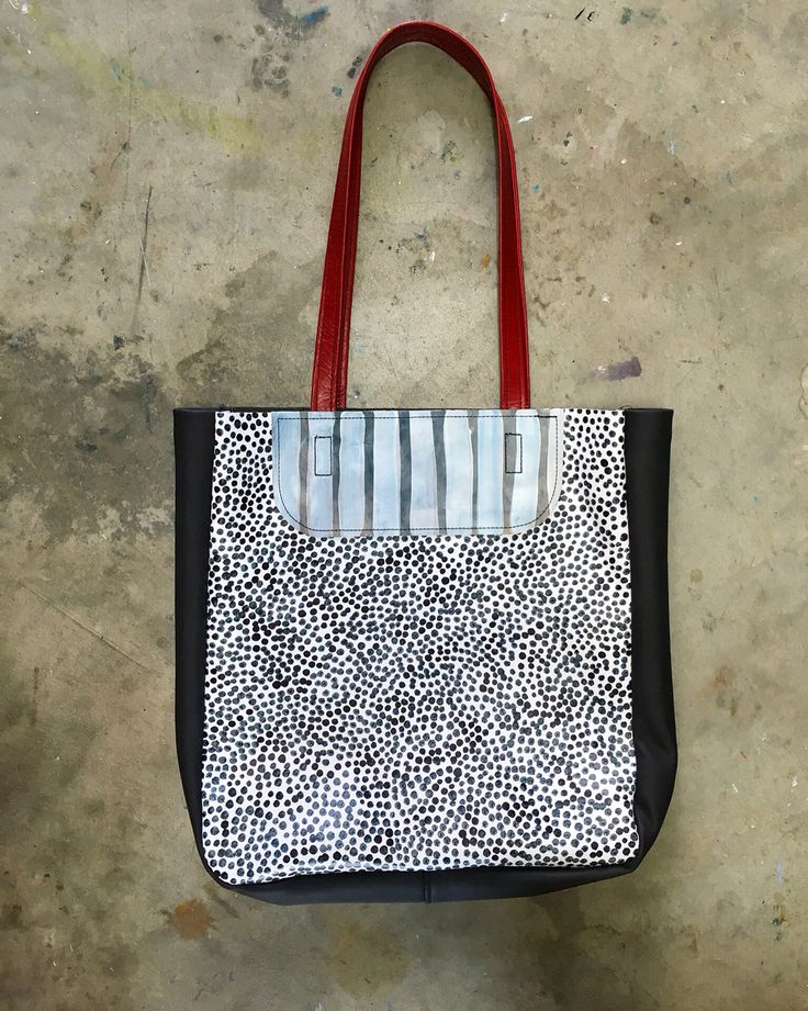 Hand painted leather tote Designed and made by Julia Flanagan for Frejj, 2016  www.frejj.com