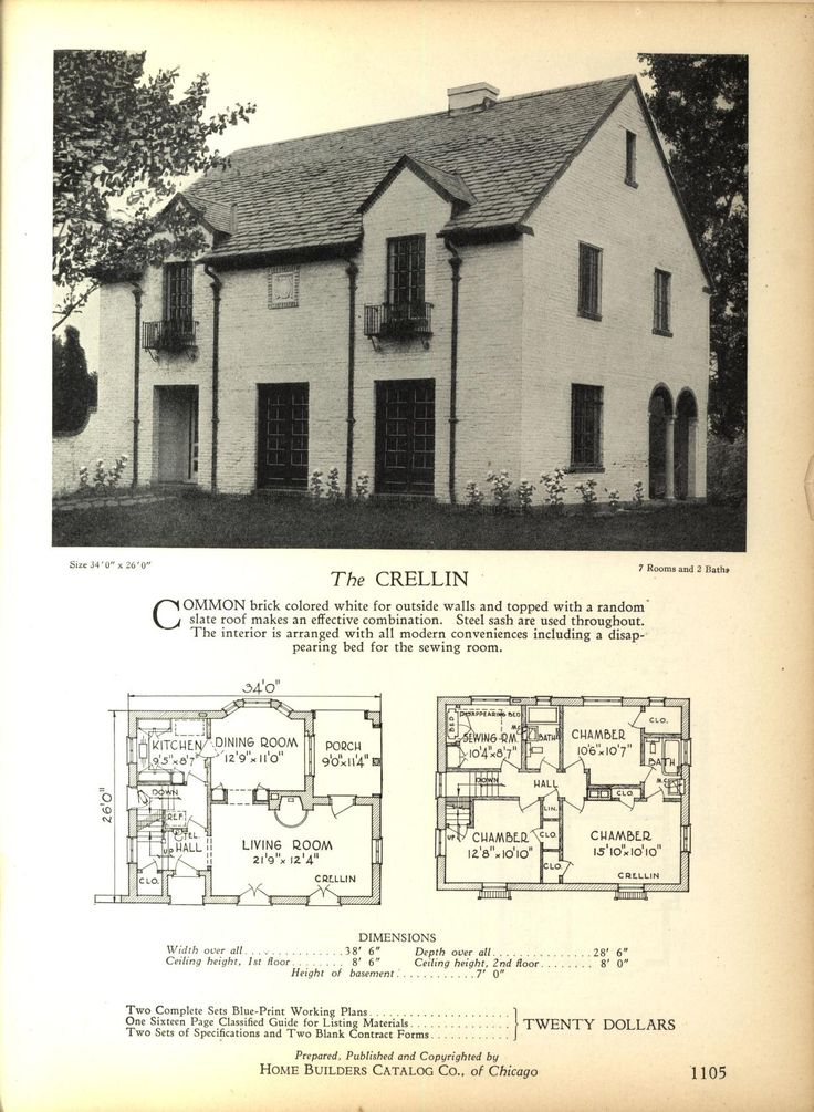 The CRELLIN - Home Builders Catalog: plans of all types of small homes by Home Builders Catalog Co.  Published 1928