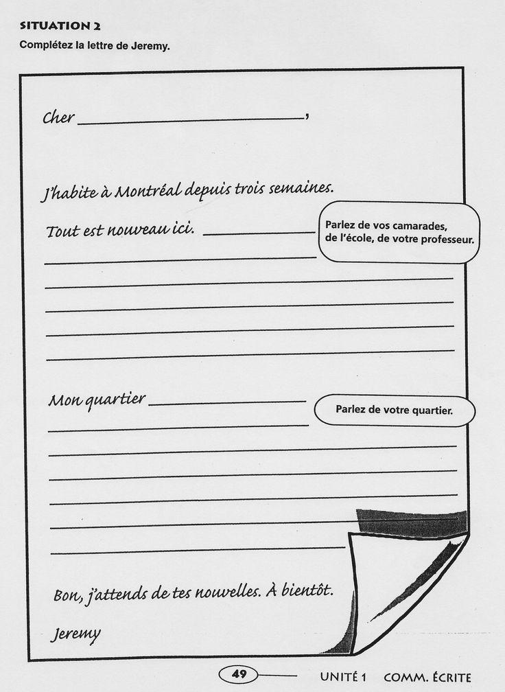 Ecrire une lettre (ecole, camarades, professeur, quartier)