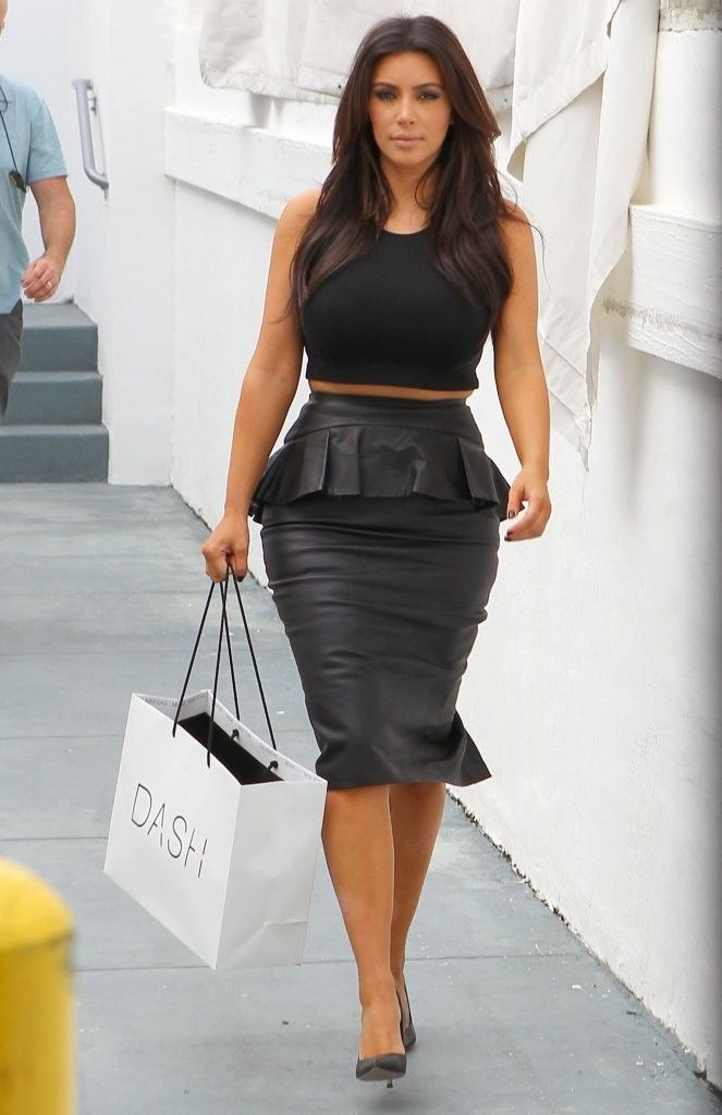 Despite wearing all black, Kardashian added visual interest with a peplum shape on this leather piece.