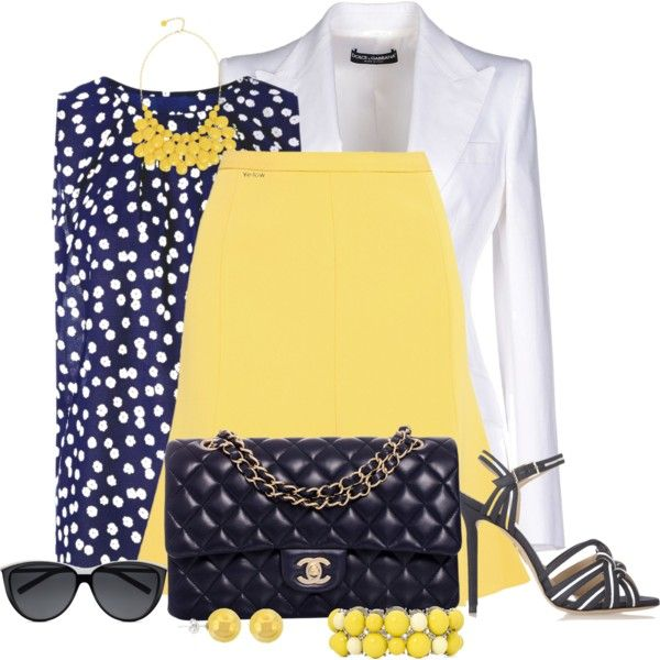 Navy, Yellow and White by cathy0402 on Polyvore featuring moda, Tenki, Dolce&Gabbana, Boutique Moschino, Charlotte Olympia, Chanel, Mixit, Alexa Starr, Lord & Taylor and Yves Saint Laurent