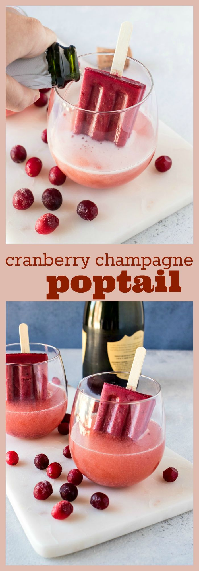 Cranberry Champagne Poptail – A homemade cranberry cherry popsicle in served in a glass with champagne. As the popsicle melts, it creates a fun sparkling cocktail suitable for any party this season! #champagne #cocktail #newyearseve #popsicles #recipe #cranberry