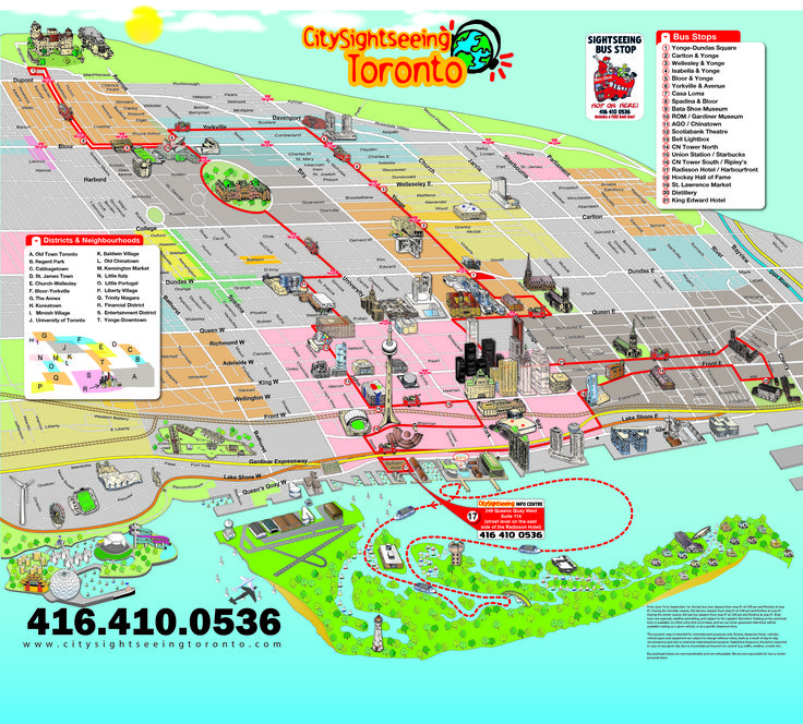 View a map of all the major attractions and point of interest we pass during our City Sightseeing Toronto Double Decker City Tour