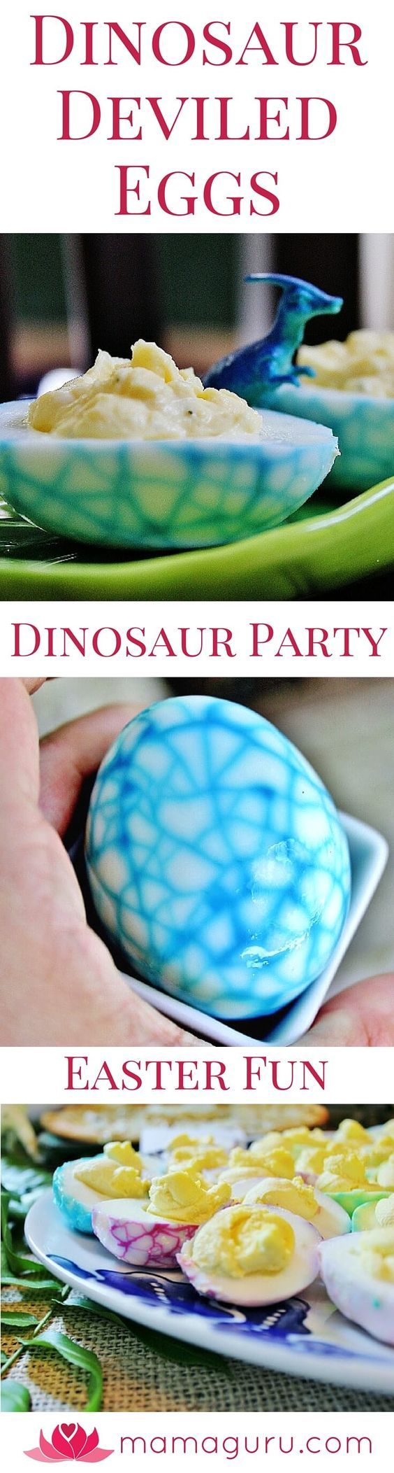 Here's the coolest thing you can do with a hard-boiled egg: make a Dinosaur Deviled Egg! Of course, it's great for Dinosaur Parties, but it's also a fun way to liven up Easter eggs. Most people dye the shell, but you can color the actual egg. It's easy and makes for a spectacular presentation. It's completely safe to eat and always delicious. A feast for the eyes and mouth. What could be better?