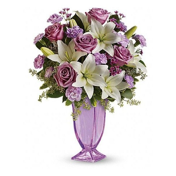 Teleflora's Lavender Love Bouquet Flowers ($4.99) ❤ liked on Polyvore featuring home, home decor, floral decor, flowers, fillers, purple, fiori, glass flower stems, purple rose bouquet and rose bouquets
