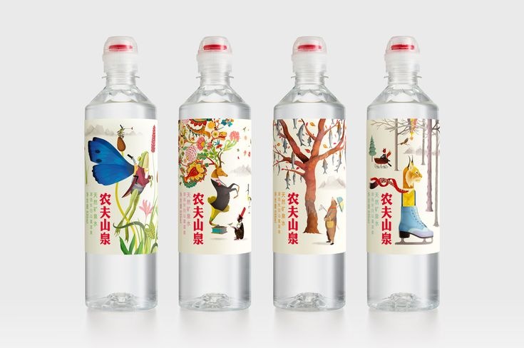 Nongfu Spring Mineral Water is  aimed at a younger market and features a leak-free cap.  |  Design: Horse  |  Whimsical illustrations by renowned artist Brett Ryder   |  The Dieline - Branding & Packaging
