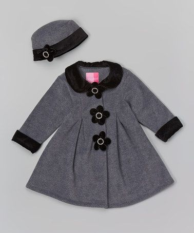 Loving this Gray Floral Fleece Swing Coat & Beanie - Infant on #zulily! #zulilyfinds