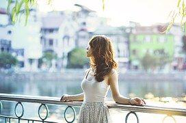 아시아의, 여자, 아시아, 선셋, 햇빛, 여성, 모델, 포즈, 아름다움