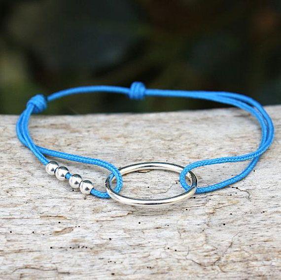 Bracelet cordon au choix anneau oval et perles argent 925