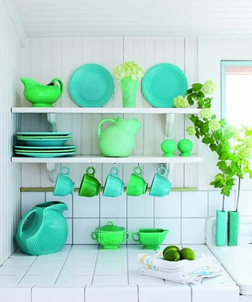 turquoise and green in a white kitchen