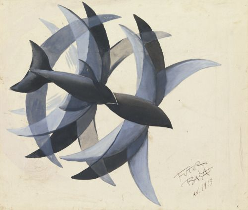 blastedheath:Giacomo Balla (Italian, 1871-1958), Volo di rondini [Flight of swallows], 1913. Gouache on paper, 32.5 x 38.5 cm.