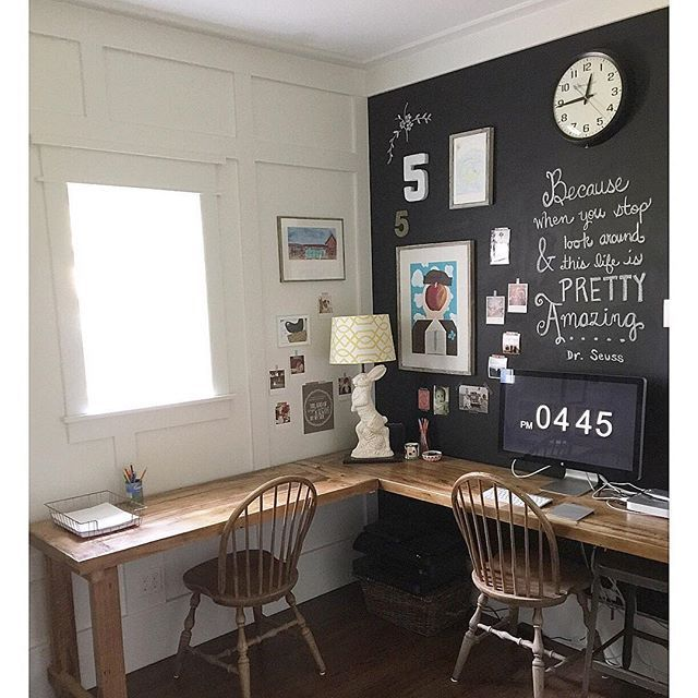 Love this home office chalkboard wall eclecticallyvintage.com