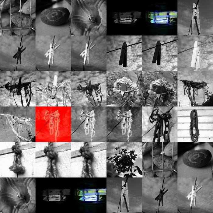 collage en foco rojo