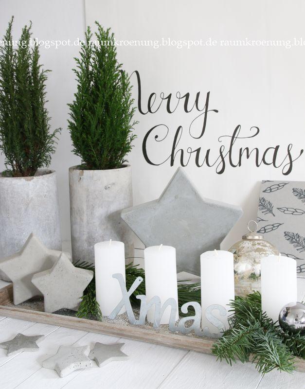 adventskranz alternative wei e kerzen mit betonsternen raumkr nung x mas adventskranz. Black Bedroom Furniture Sets. Home Design Ideas