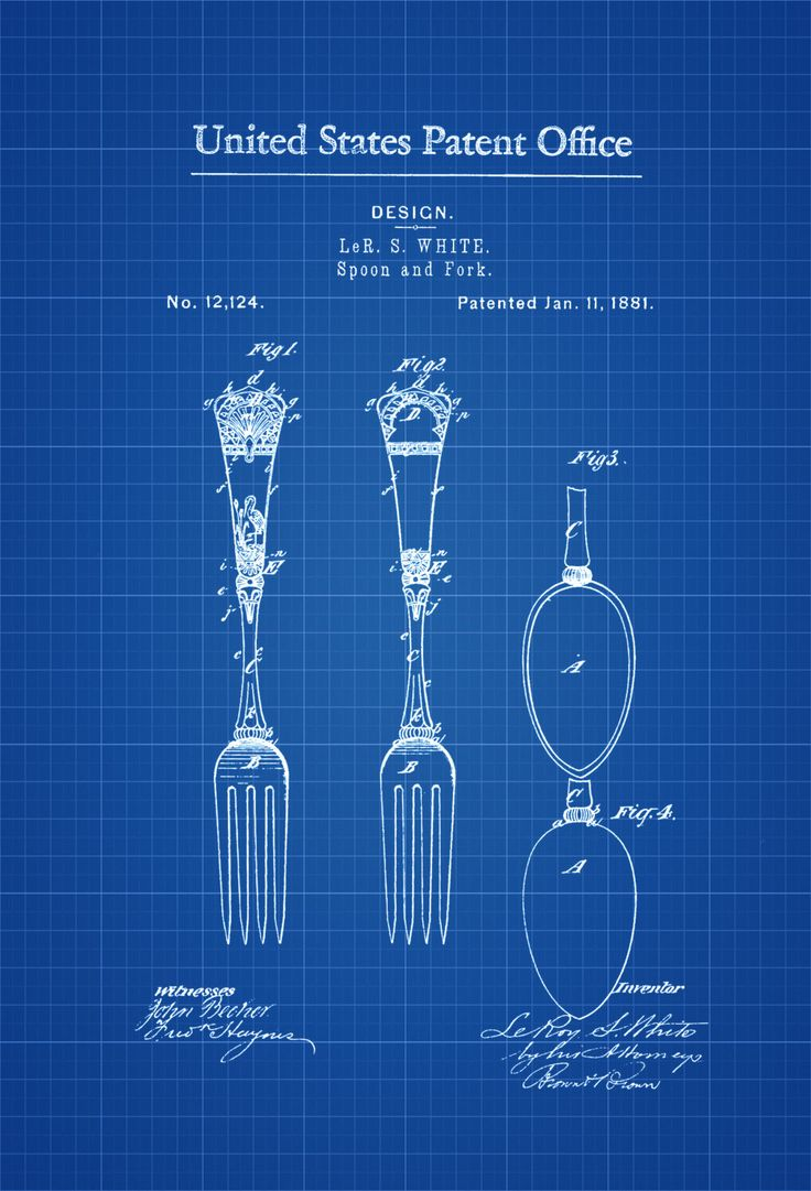 1881 Victorian Spoon and Fork Patent - Kitchen Decor, Restaurant Decor, Patent Print, Wall Decor, Chef Gift, Cooking Patent, Cook Gift