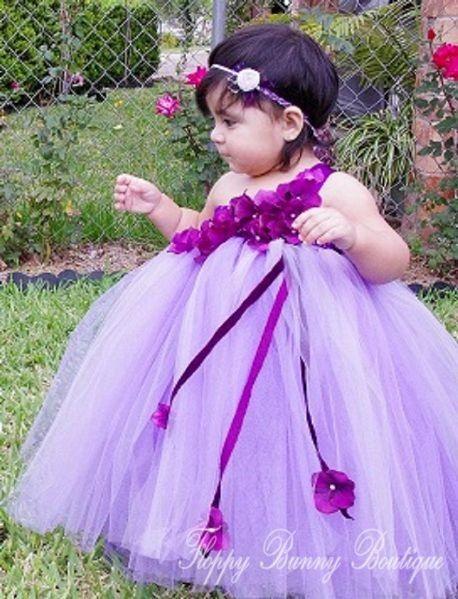 Purple Dreams Tutu Dress Flower Girl by FloppyBunnyBoutique