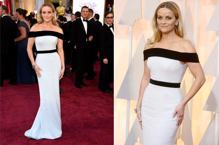 Reese Witherspoon, correcta con una apuesta segura: un Tom Ford en blanco y negro.  /Invision AP y EFE-EPA
