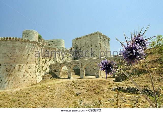 Krak des Chevaliers, Crusader castle in Syria - Stock Image