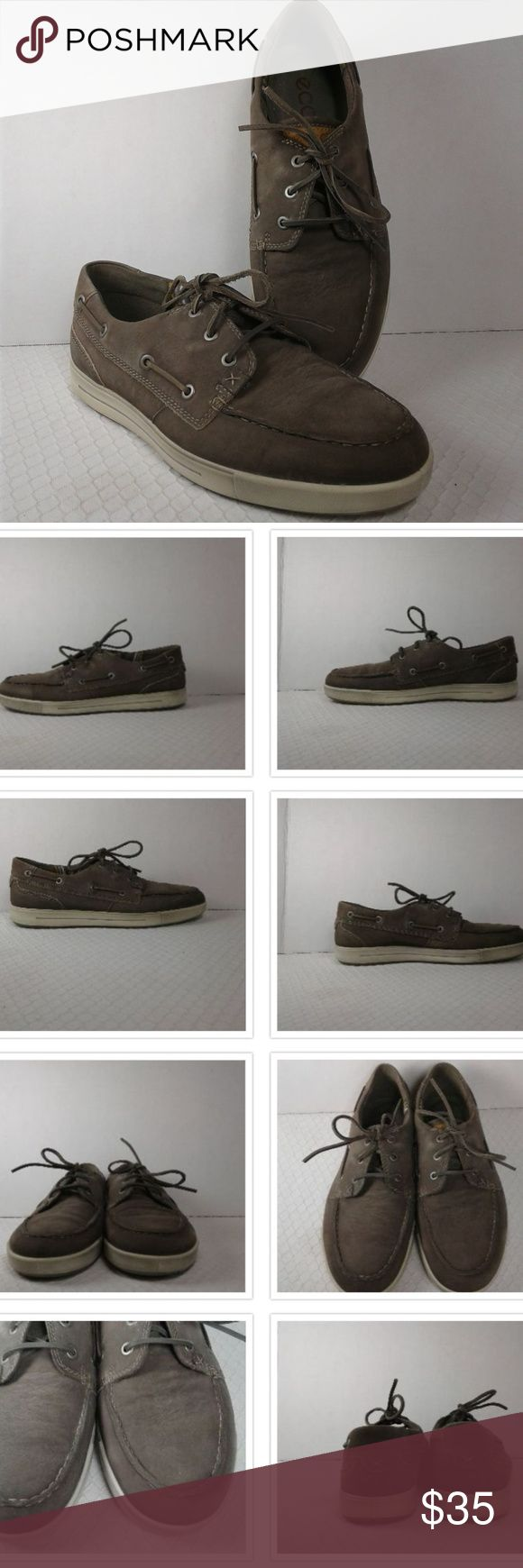 """ECCO  Men's Brown Leather Boat Shoes Nice looking pair of men's brown leather boat shoes that are in good condition with only gentle wear. Stated size is 42. Measures 11.5"""" from heel to toe, 3.25"""" wide and have a 1"""" heel. Ecco Shoes"""