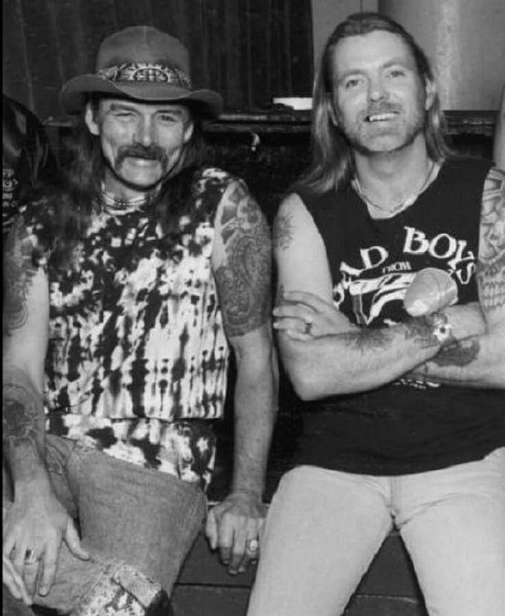 A great photo of Dickey Betts and Gregg Allman backstage before The Allman Brothers Band performance at the Central Park Ballroom in Milwaukee, WI. July 28, 1989. Photo by George Rose.