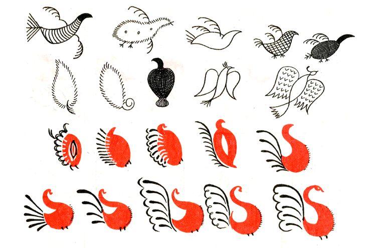 мезенские птички - русская роспись