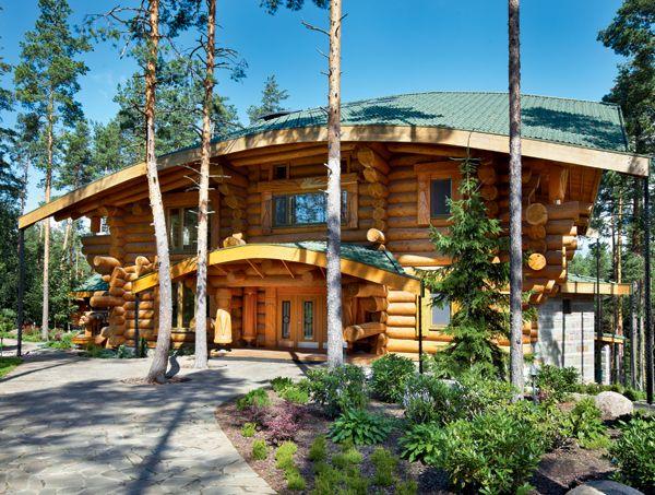 Комфортный особняк из оцилиндрованного бревна   Дома из оцилиндрованного бревна   Журнал «Деревянные дома»