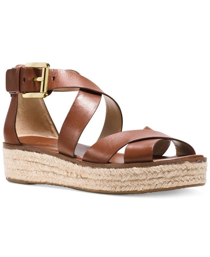 MICHAEL Michael Kors Darby Flatform Sandals leather dark chocolate, luggage  1.25h sz7.5