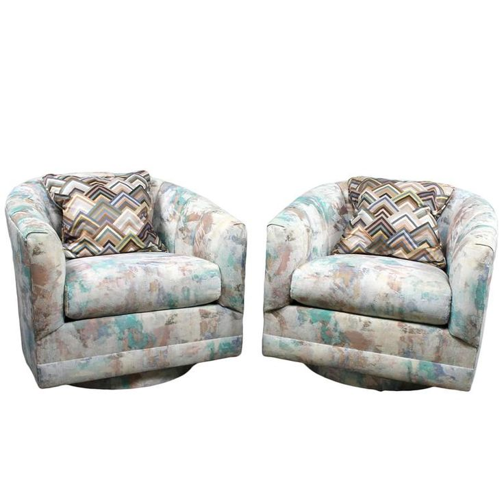Post Mid-Century Modern Pair of 1970s Swivel Barrel Chairs | From a unique collection of antique and modern swivel chairs at https://www.1stdibs.com/furniture/seating/swivel-chairs/