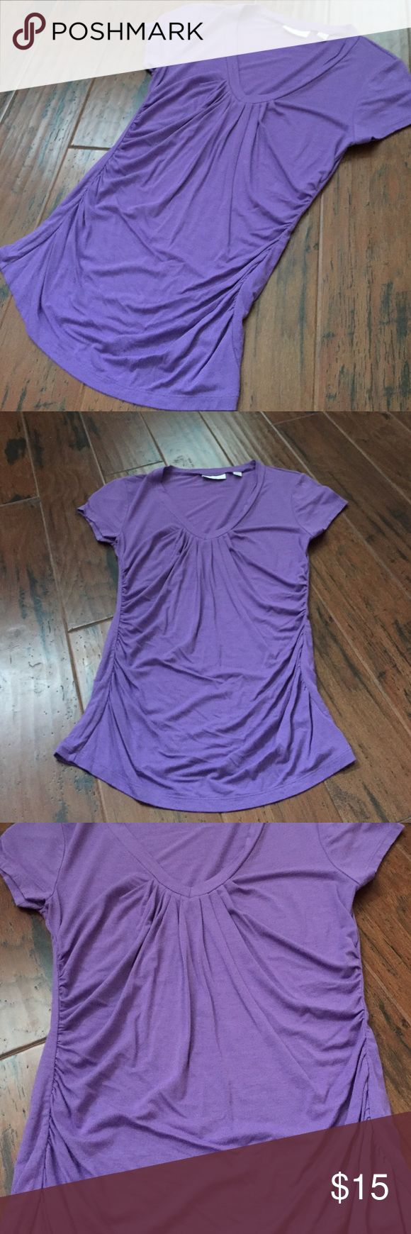 Purple tee Very cute never worn purple too from New York & Co.  Has some ruching details New York & Company Tops Tees - Short Sleeve