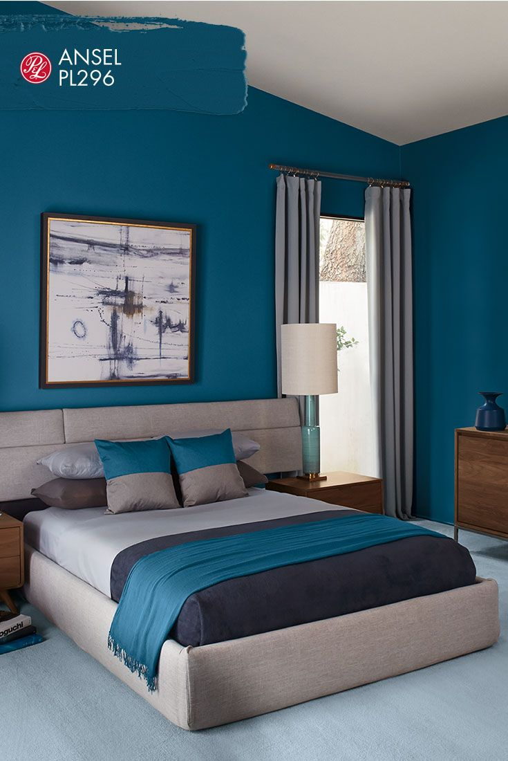Ansel PL296. Add to your bedroom's comfort by selecting paint color that soothes. The shade of Pratt & Lambert's Ansel PL296 is a blend of eye-catching blue and sleek sophistication.