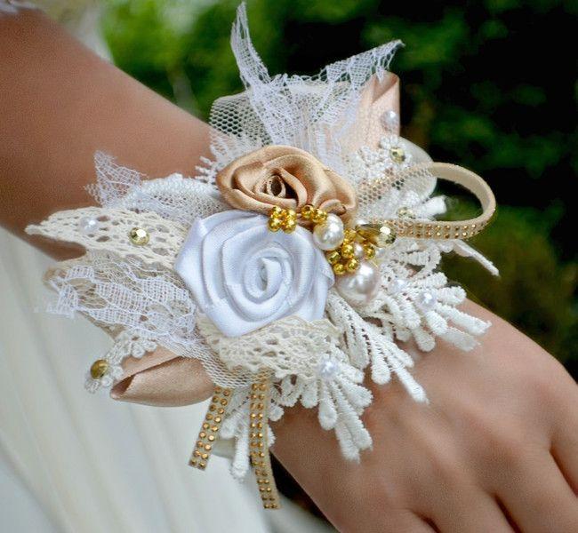 Brautschmuck - Hochzeit armband shabby chic gold - ein Designerstück von Wandadesign bei DaWanda