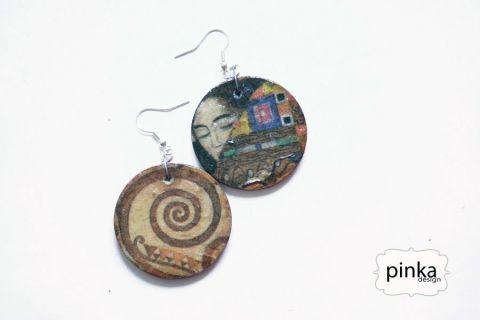 Asszimetrikus Klimt, Ékszer, óra, Fülbevaló, M O S T   V E D D   M E G   Nyári könnyű fülbevaló. Fa alapon, nikkelmentes ezüst színű fül..., Meska