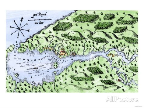 Champlain's 1613 Map of His Settlement at Port Royal, Now Annapolis Royal, Nova Scotia, Canada Giclee Print