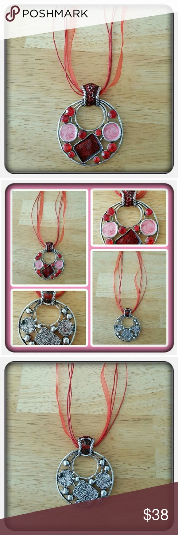 NWOT Woman's Red Handmade Cabachon Necklace Brand New Never Worn Woman's Handmade Cabachon Necklace. This Beauty Is Made With Red & Pink Enamel. The Metal Is Silverstone And The Pendant Hangs From Red Ribbon Very Unique Great Piece For Any Jewelry Lover Or Gift Giving 🚫 PAYPAL 🚫 TRADES 🚫 LOWBALLING Handmade Jewelry Necklaces