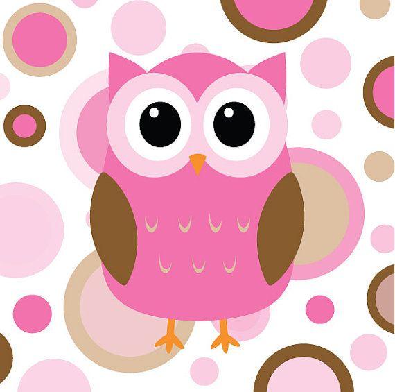 Owl Pink and Brown Nursery Print  8x10 by ljg23 on Etsy, Iz's room
